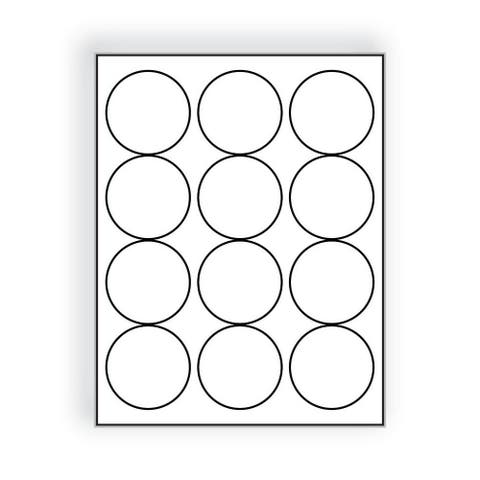 """Laser Label Sheet, 2-1/2"""", Bright White Circles, Laser Finish, Flat Sheet and Pre-Die Cut Labels (Box of 100) - 2-1/2 in"""