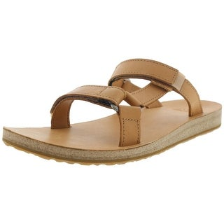 Teva Womens Leather Flat Slide Sandals