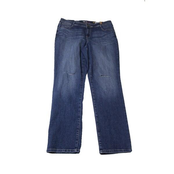 9a2bf073af1 Shop Style Co Plus Size Ripped Lorimer Blue Wash Slim-Leg Jeans 14W ...