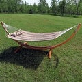 Sunnydaze Wooden Curved Arc Hammock & Hammock Stand, 12 Feet Long, 400 Pound Capacity - Thumbnail 8