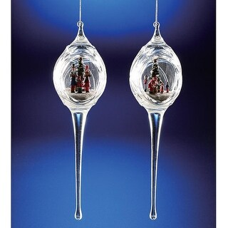 """Pack of 6 Icy Crystal Egg-Shaped Christmas Scene Ornaments with Icicles 9.3"""""""