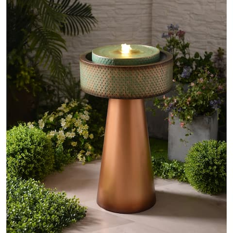"""Elara Lit Copper and Green Tiered Floor Fountain - 18"""" x 31"""""""