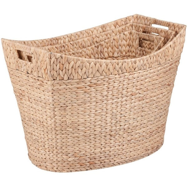 Honey Can Do STO-04463 3 Piece Water Hyacinth Tall Basket Set with Handles, Natural/Brown