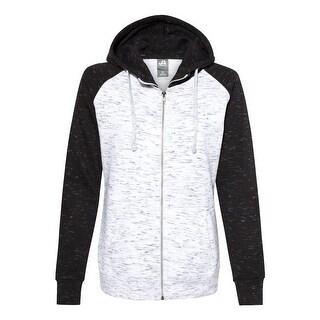 J. America - Women's Mélange Fleece Colorblocked Full-Zip Sweatshirt