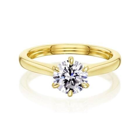 Annello by Kobelli 14k Gold Round Moissanite 6-Prong Ring (HI/VS)