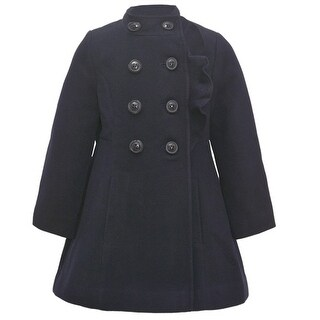 Rothschild Little Girls Navy Ruffle Trim Double Breasted Button Coat