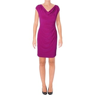 Lauren Ralph Lauren Womens Petites Party Dress Cowl-Neck Ruched