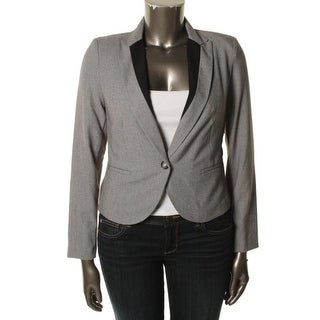 BCX Womens Juniors One-Button Blazer Heathered Contrast Trim