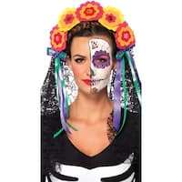 Day Of The Dead Flower Headband - MultiColor - One Size Fits most