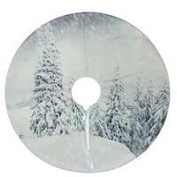 """23"""" Snowy Woodland Scene Mini Velvet Christmas Tree Skirt - Blue"""
