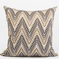 "G Home Collection Luxury Metallic Big Chevron Embroidered Pillow 20""X20"" - Thumbnail 0"
