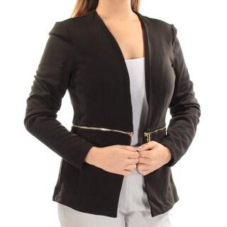 GRACE ELEMENTS $45 Womens New 1321 Black Faux Gold Zipper Casual Jacket L B+B