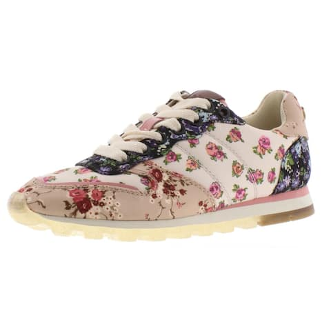 Coach Womens Mixed Media Fashion Sneakers Printed Low Top - Chalk Multi/Beechwood