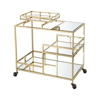 """Dimond Home 1114-325 Repertoire 31-1/2 """" Wide Stainless Steel Framed Bar Cart with Tempered Glass and Mirrored Shelves"""