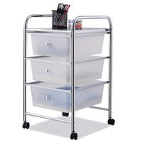 Costway 3 Drawers Metal Rolling Storage Cart Scrapbook Supply & Paper Home Office White