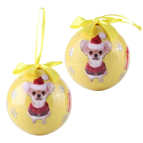 Pack of 2 Chihuahua Christmas Tree Balls Shatter Proof Ornaments