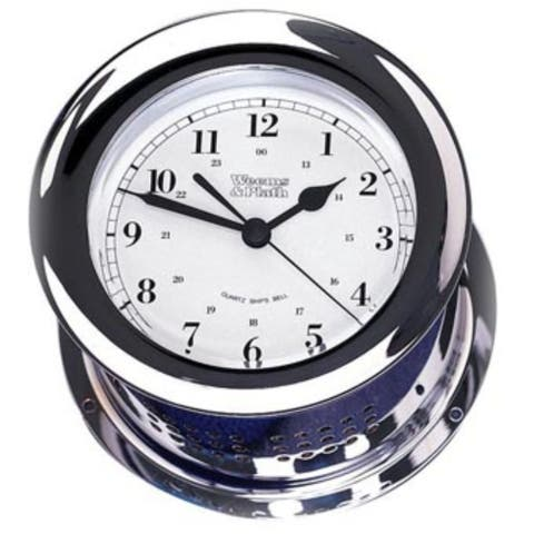 """8"""" White and Silver Traditional Round Shaped Bell Clock"""