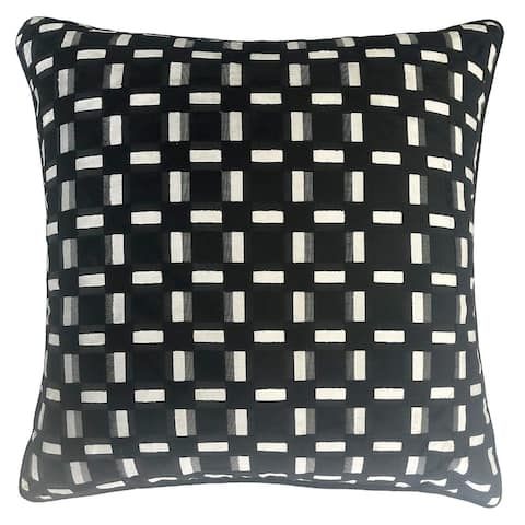 Rodeo Home Zeppelin Geometric Plaid Cut Velvet Throw Pillow