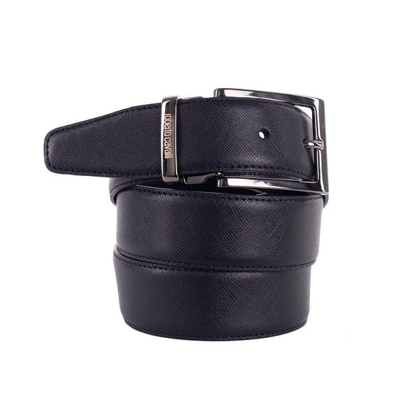 Roberto Cavalli Mens Black Saffiano Leather Square Buckled Belts