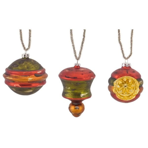 Pack of 6 Decorative Glass Red, Green and Gold Ornament