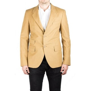 Prada Men's Notched Lapel Cotton Viscose Sport Jacket Coat Blazer Camel Mustard - 50
