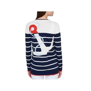 Tommy Hilfiger Womens Cardigan Sweater Embroidered Striped Navy S