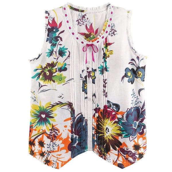 Catalog Classics Women's Spring Flowers Pajamas - Sleeveless Top & Cropped Pants