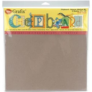 "Natural - Medium Weight Chipboard Sheets 12""X12"" 6/Pkg"