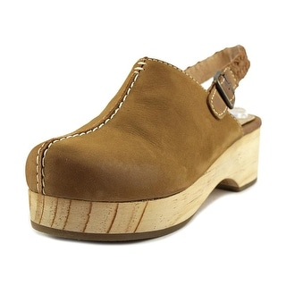MTNG Rachel Women Round Toe Leather Tan Clogs