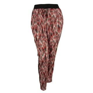 Calvin Klein Women's Printed Polyester Pants - blacktango