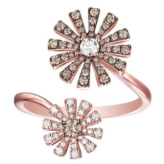 Prism Jewel 0.57Ct G-H/SI1 Brown Color Diamond with Diamond Designer Two-Flower Open Ring - White G-H
