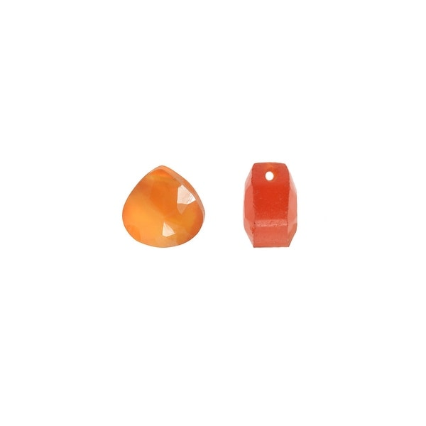 Carnelian Gemstone Beads, Faceted Heart Briolettes 5x7mm, 6 Pieces