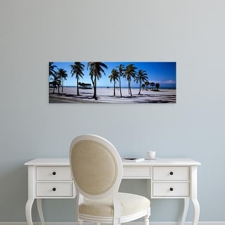 Easy Art Prints Panoramic Images's 'Palm trees on the beach, Mexico' Premium Canvas Art