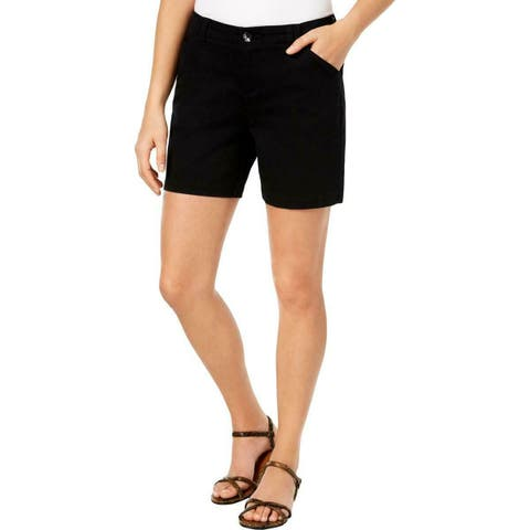 Lee Deep Black Womens Size 8 Flat-Front Tailored Chino Shorts