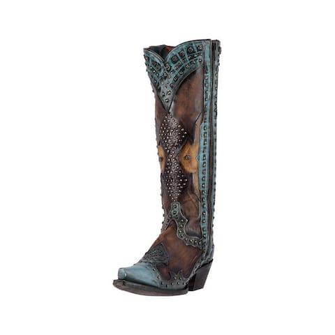 ceaf4873bf9 Dan Post Western Boots Womens Natasha Studded Snip Toe Green