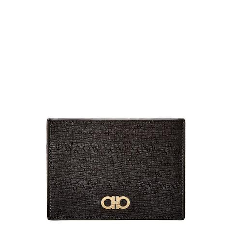 Salvatore Ferragamo Gancini Leather Card Holder - NoSize
