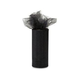 "Pack Of 1, Solid Black Glimmer Tulle Ribbon 6"" X 25 Yards For Special Occasions Such As Christmas & Weddings"
