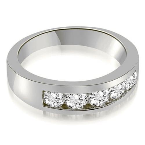 1.00 cttw. 14K White Gold Classic Channel Round Cut Diamond Wedding Band