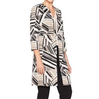 Kasper NEW Beige Women's Size 16 Plus Abstract Print Ottoman Jacket