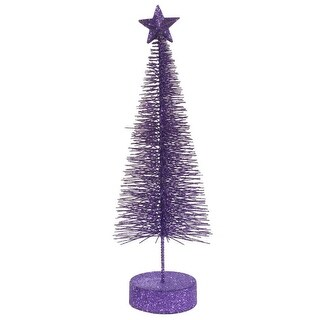 Pack of 2 Purple Passion Glitter Sisal Artificial Table Top Christmas Trees 12""