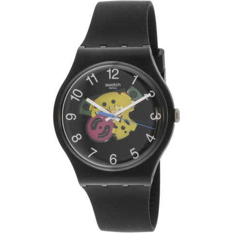 daaeea6d5de Swatch Women s Patchwork Black Silicone Swiss Quartz Fashion Watch