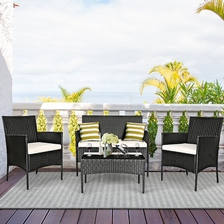 Link to Costway 4PCS Patio Rattan Furniture Set Cushioned Sofa Coffee Table Similar Items in Patio Furniture