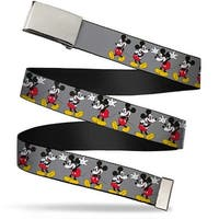 Blank Chrome  Buckle Mickey Mouse W Glasses Poses Gray Webbing Web Belt