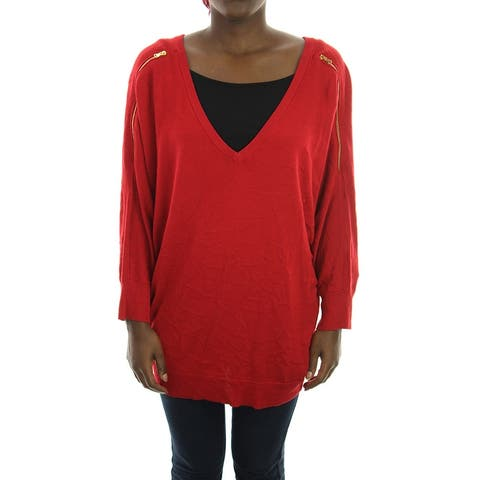Inc Red Plus Size Zipper-Sleeve V-Neck Sweater 0X
