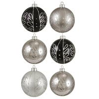 "6ct Black and Silver Scrollwork Shatterproof Christmas Ball Ornaments 3.25"" 80mm"