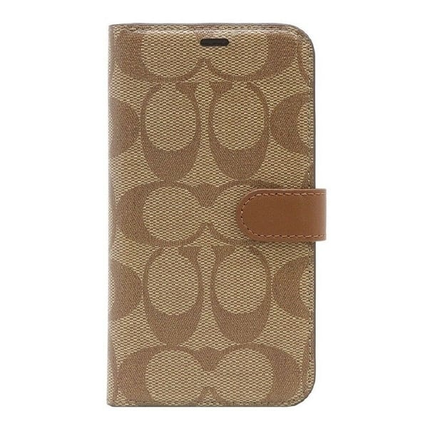 cheap for discount 49b96 52108 Shop Coach Signature Canvas Phone Folio Case for iPhone XR, Khaki ...