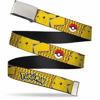 Blank Chrome  Buckle Pokemon Pikachu Pose Poke Ball Yellow Black Web Belt - S