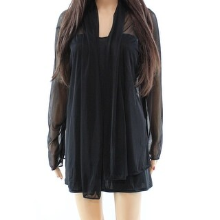 MSK NEW Black Womens Size Small S Mesh Cover Up Sheer Open Front Jacket