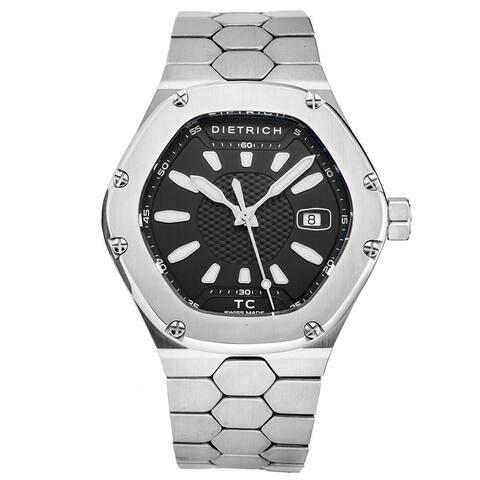 Dietrich men's tc ss black 'time companion' black dial hexagon swiss automatic watch