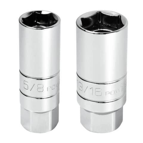 Powerbuilt 2 Piece 3/8 in. Drive Magnetic Spark Plug Socket,5/8-in.13/16-in.